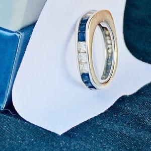 Exquisite Genuine Sapphire,CZ 925 Ring